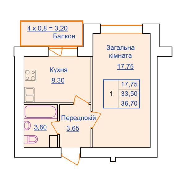 Однокімнатна квартира на Европейській 183 в Полтаві-Новобуд 2004 Гарант
